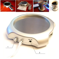 Floston USB Coffe Warmer & USB HUB 4 ports + DC 5.0V (подогреватель напитков) Silver
